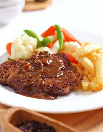 Rib Steak With Bell Pepper Puree, Cilantro, And Pine Nuts Recipes ...